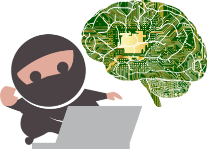 Ninja child using a laptop to encode the mind of many.