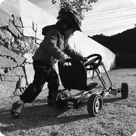 A kid with his kart