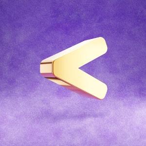 A 3D 'less than' gold sign.