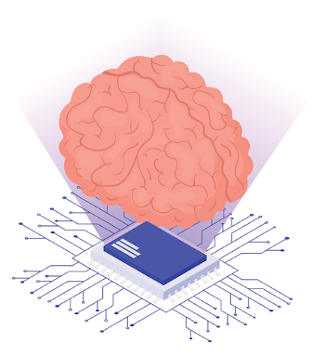 A brain on top of a cpu.